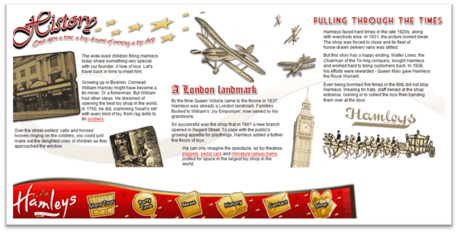 Screengrab from story page of myhamleys.com microsite